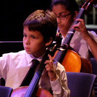 Photo of young cellist at string orchestra concert