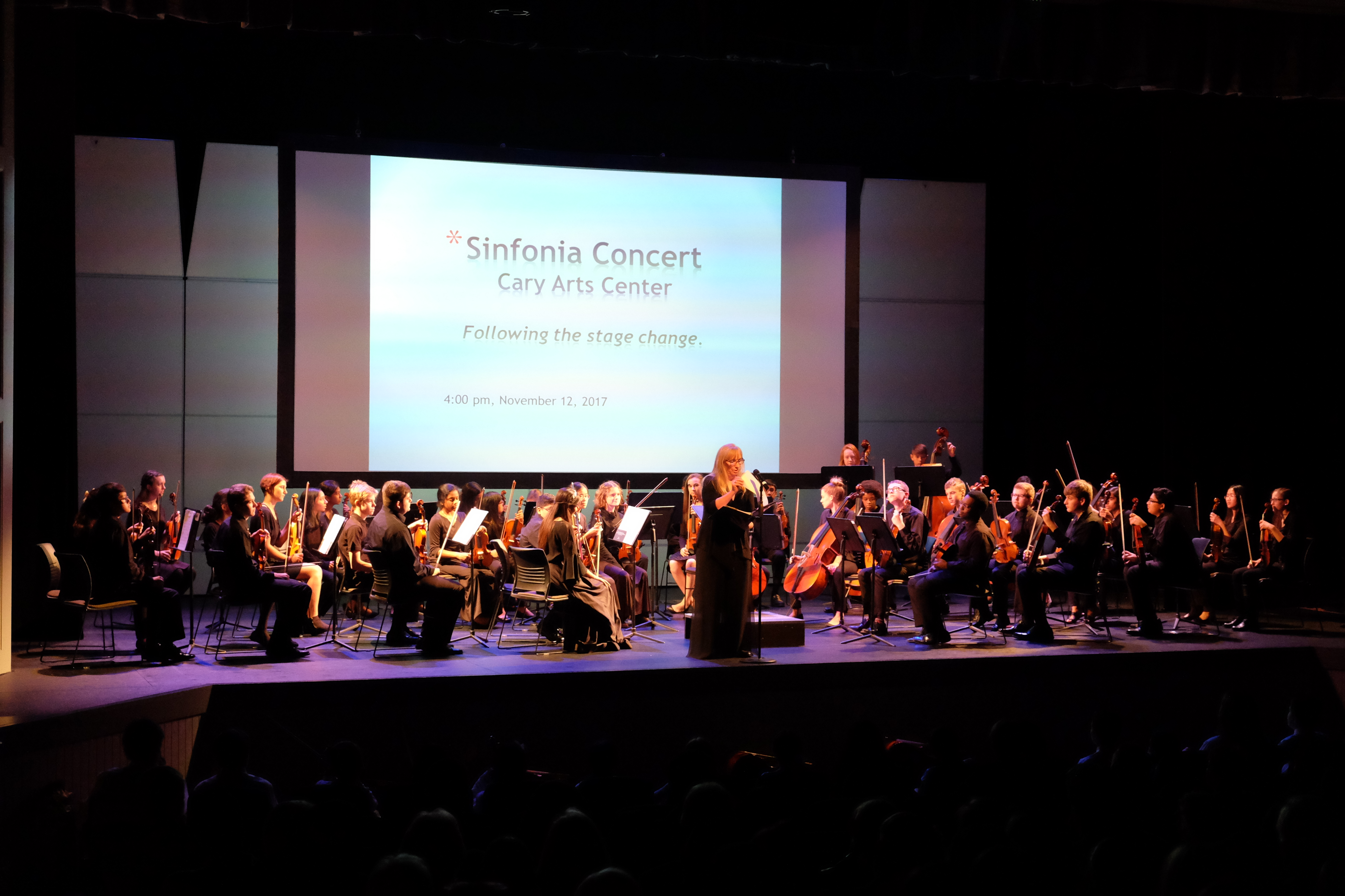 photo of entire string sinfonia with director speaking to the audience