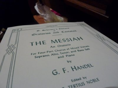 Photo of the score for handles messiah