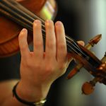 Photo of a violinists left hand