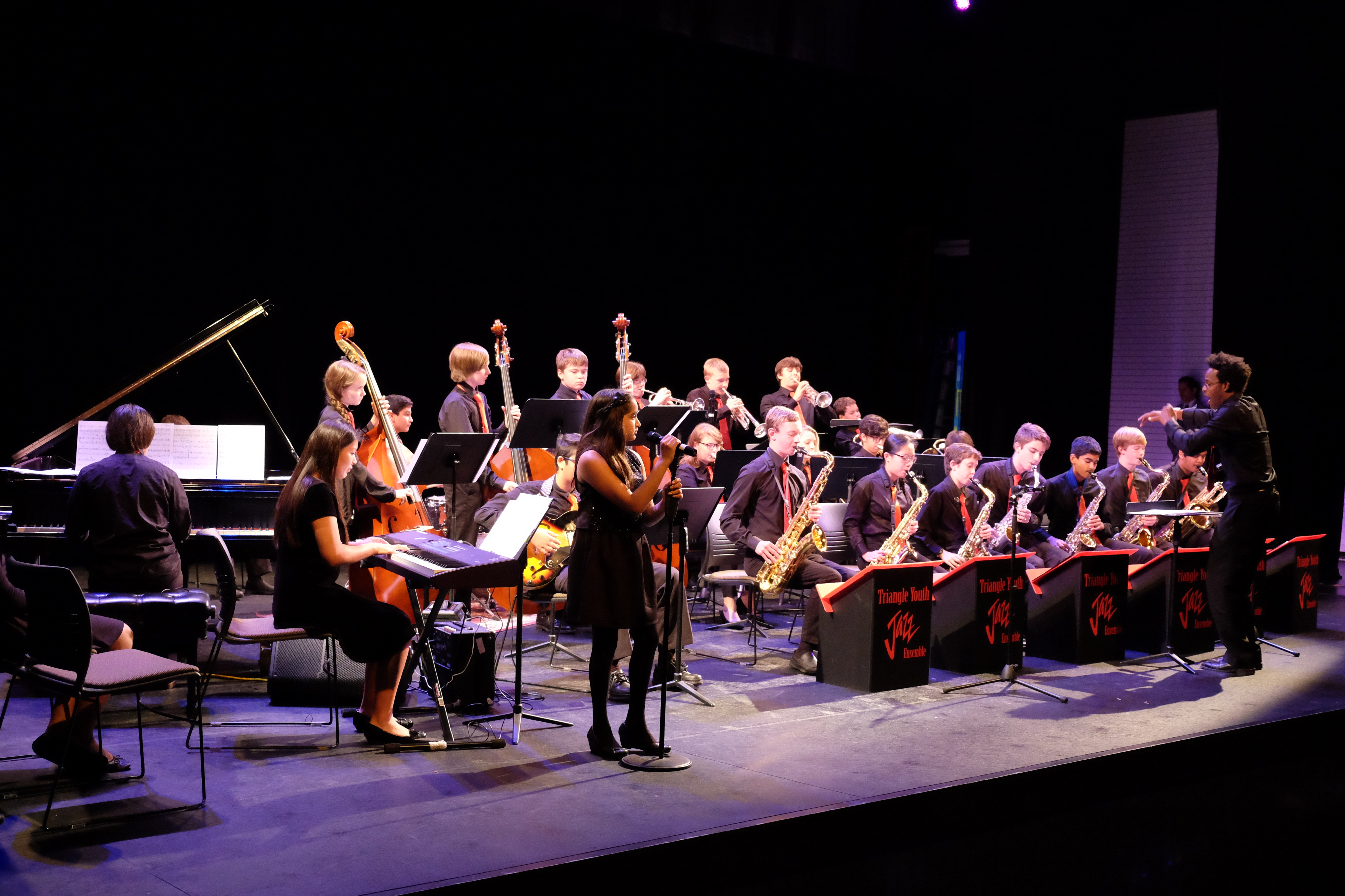 photo of entire jazz band on stage during concert