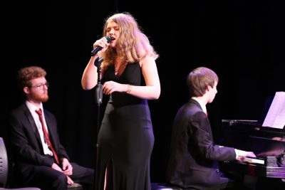 photo of jazz ensemble singer during concert