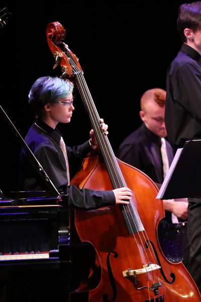 photo of jazz musicians in concert - person with cool hair playing bass and person with weird hair playing drums
