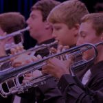 Photo of trumpet section at a jazz orchestra concert