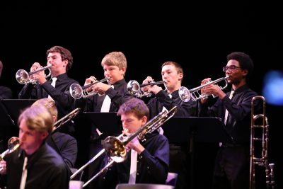 photo of jazz orchestra brass during performance