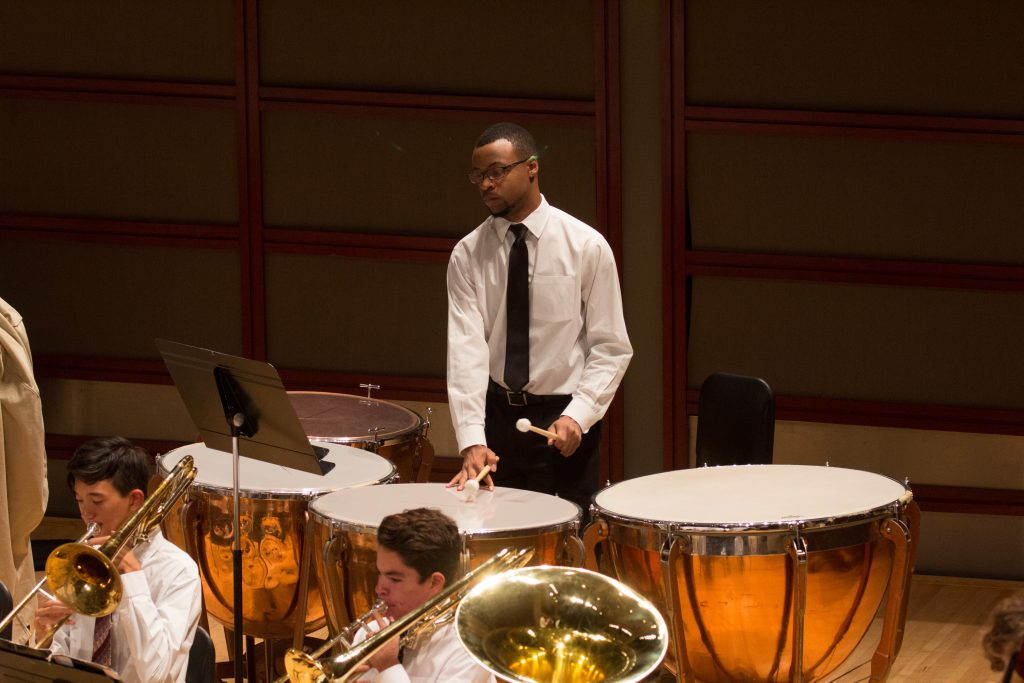 Photo of philharmonic timpanist during performance