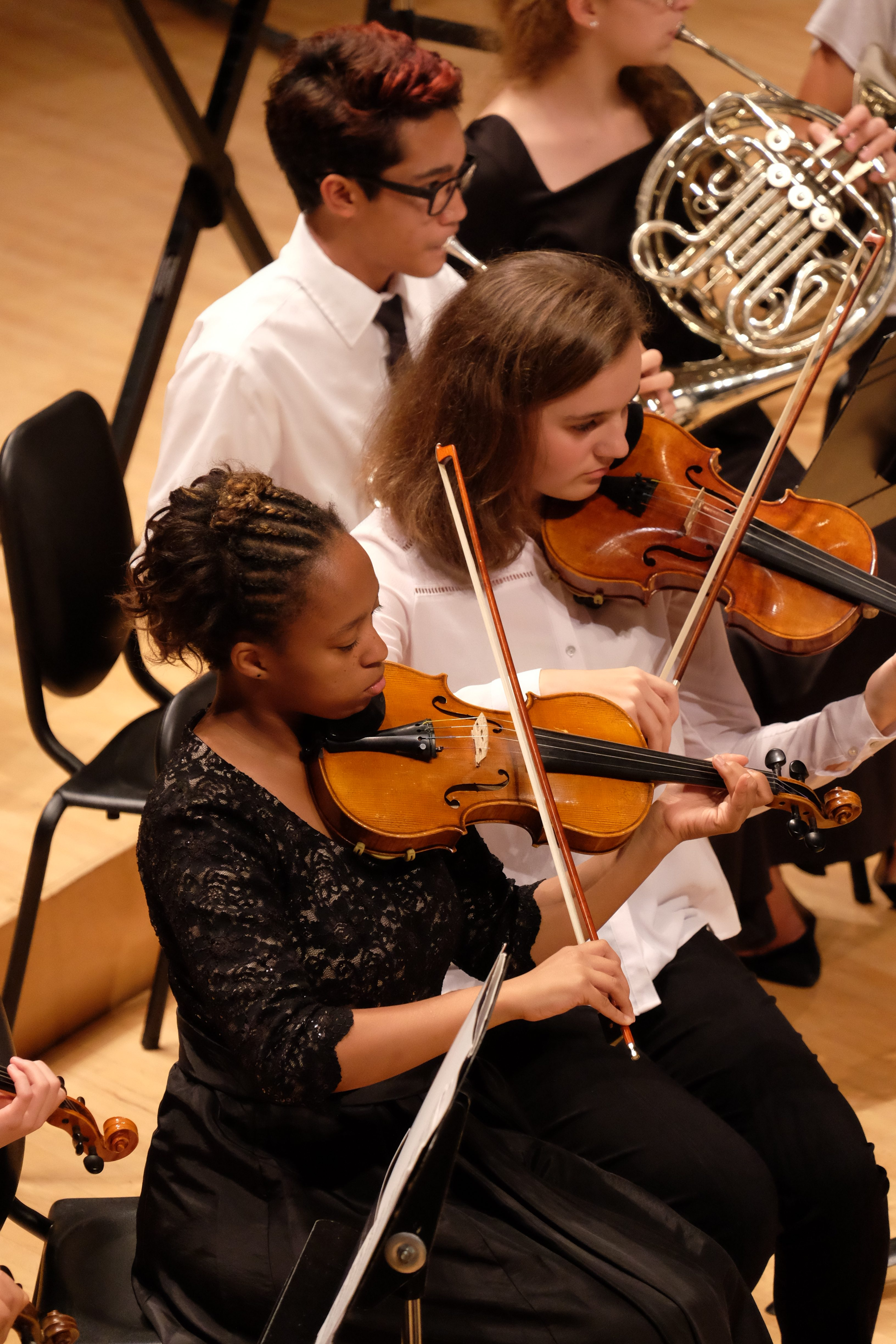 photo of symphony musicians during a performance