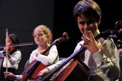 Photo of two happy cellists during string orchestra concert