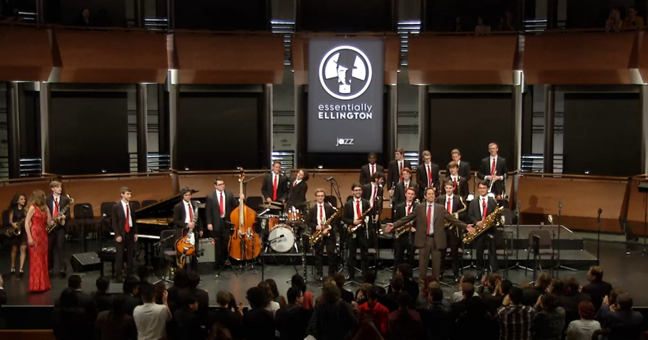Photo of jazz ensemble being applauded at rose hall in new york city