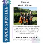 A flyer. Triangle youth string quartet presents: musical stories. Sunday March twenty-fifth at 2 PM. Eva Perry regional library, 2100 shepherd's vineyard drive, apex.
