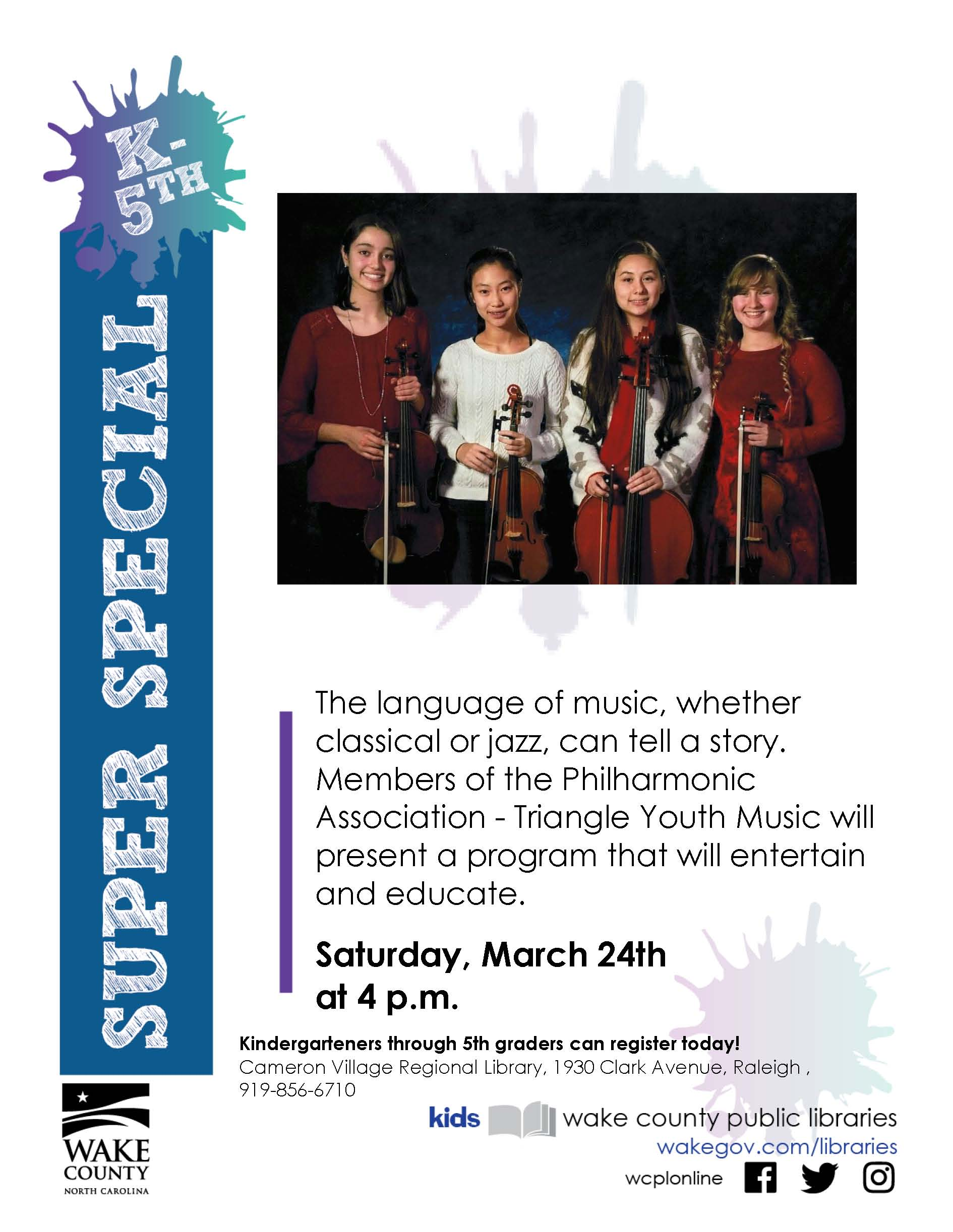 A flyer for string quartet concert Saturday march twenty-fourth at 4 PM. Cameron Village Regional library, 1930 clark avenue, raleigh.