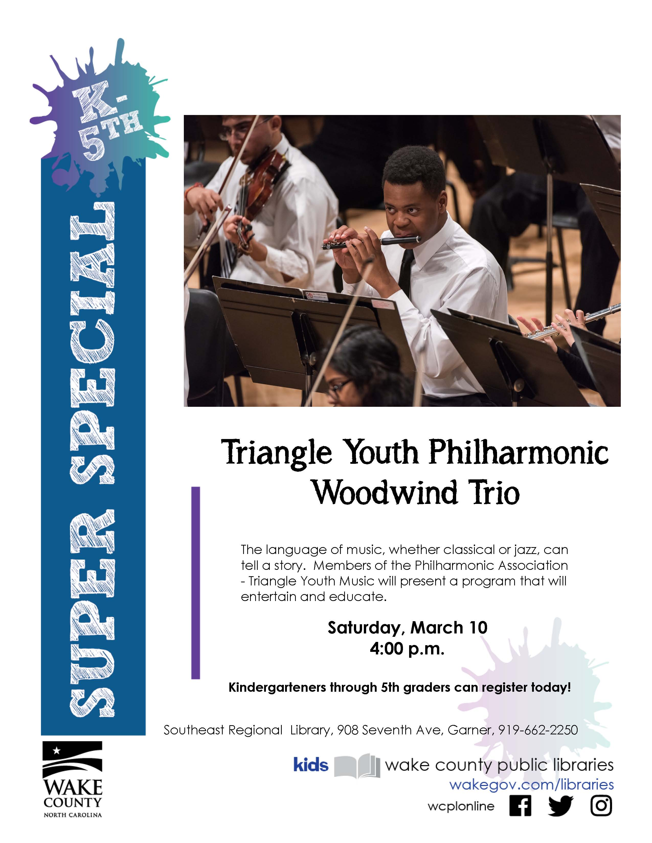 A flyer. Triangle youth philharmonic woodwind trio. Saturday March tenth, 4 PM. Southeast regional library, 908 seventh avenue, garner.