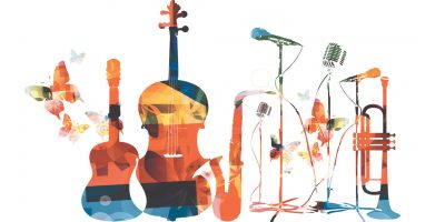 Vector illustration of colorful music instruments with butterflies