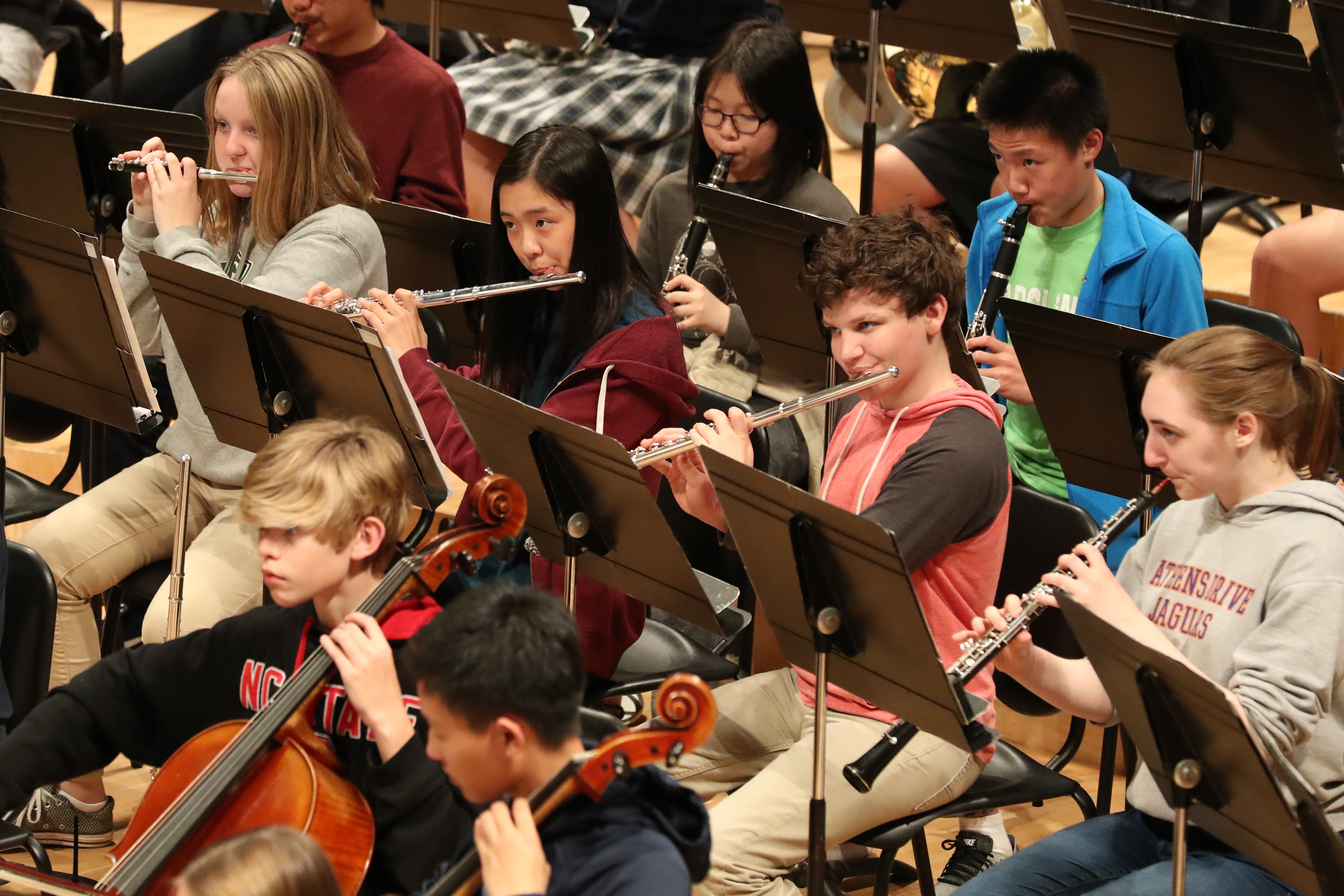 Photo of the woodwind section during symphony rehearsal