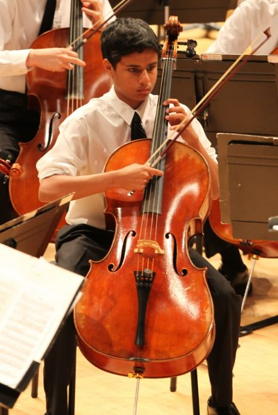 Photo of cellist during concert