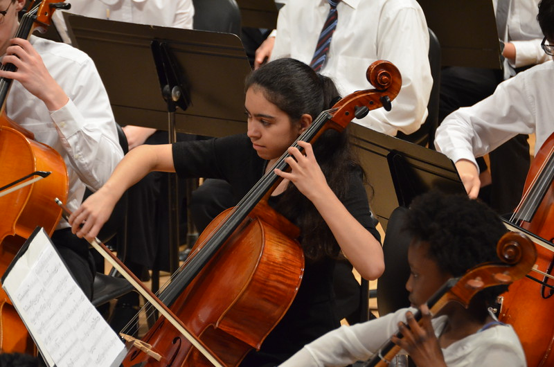 Photo of a cellist during Triangle Youth Orchestra concert