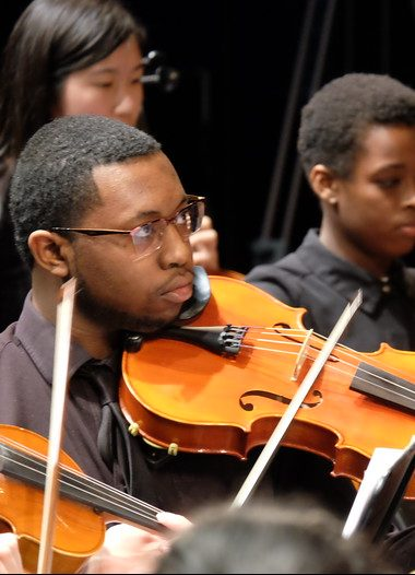 Photo of violist during performance