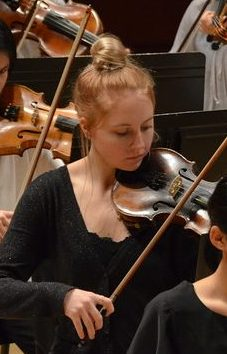 Photo of violinist during performance