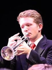 Photo of trumpeter during jazz performance