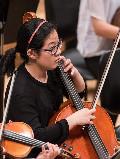 Photo of cellist plucking the strings at a performance