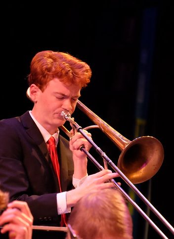 Photo of trombonist during jazz performance