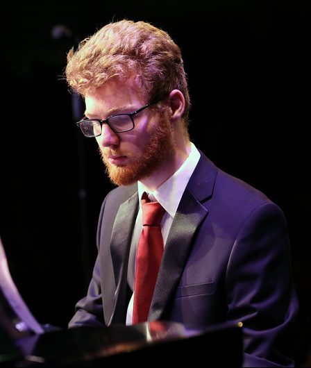 Photo of pianist during jazz performance