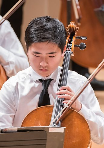 Photo of cellist during performance
