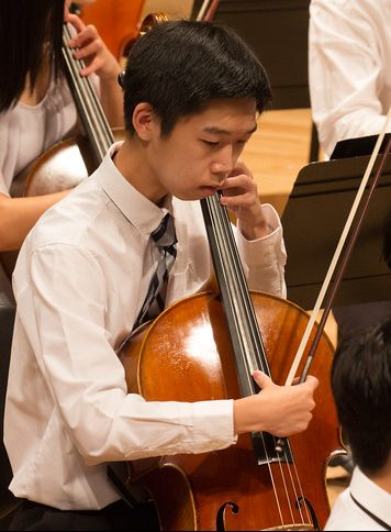 Photo of cellist during a performance