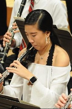 Photo of oboist during a performance