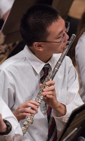 Photo of a flute player during a performance