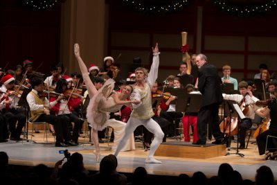 Young ballet dancers with orchestra