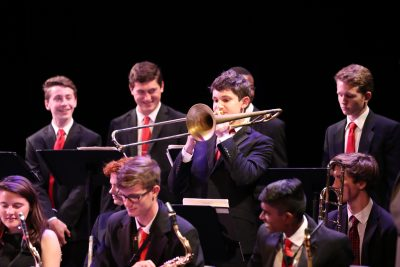 Fred Larsen plays Trombone in Triangle Youth Jazz Ensemble