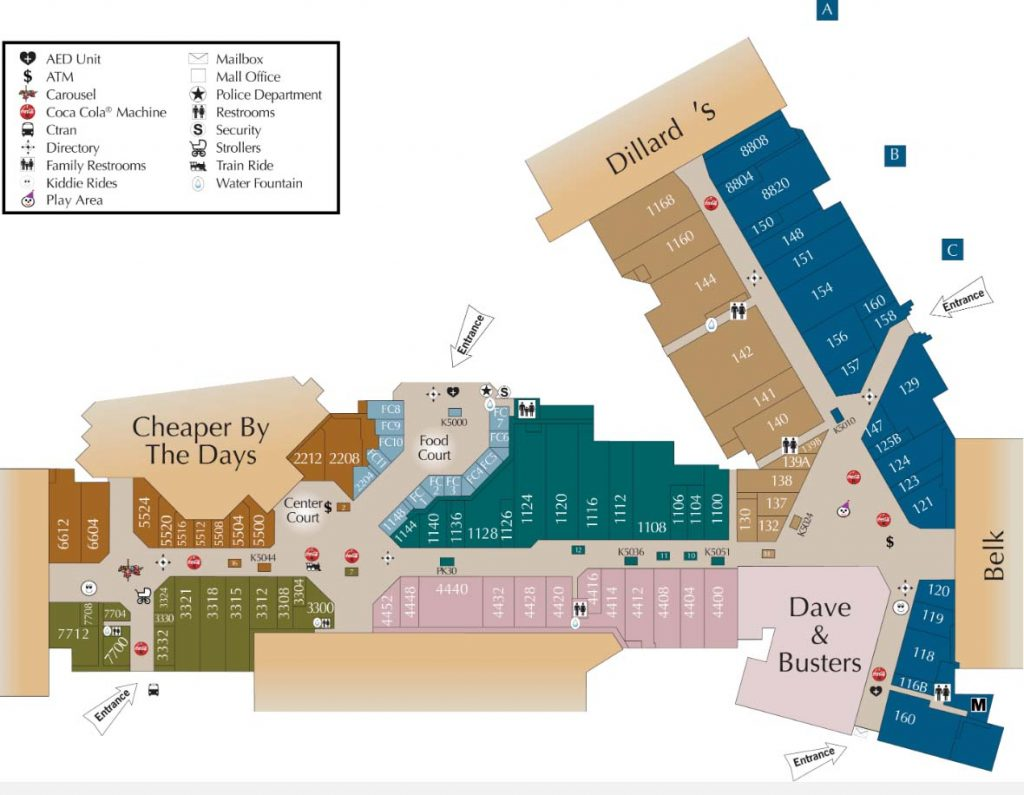 Interior map of stores at Cary Towne Center