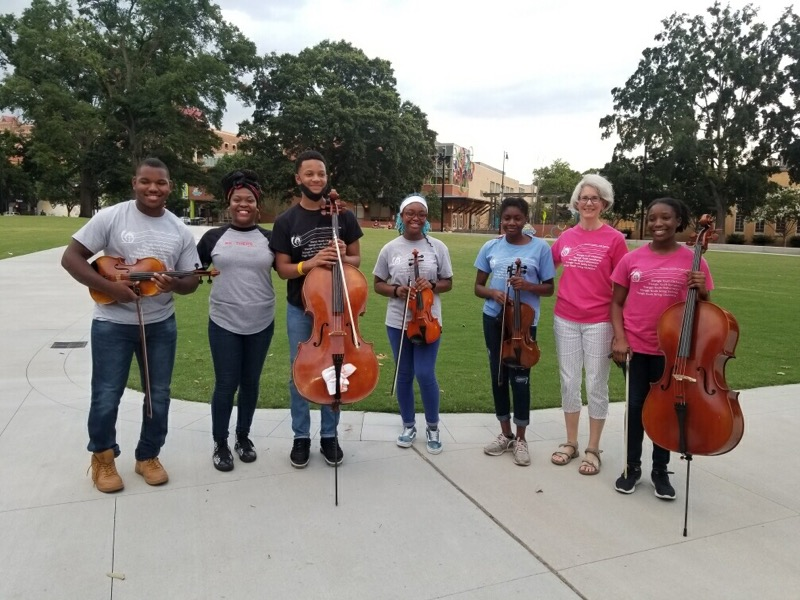 image of United Strings of Color with coach Margaret Partridge and MBK-Wake CEO Tolulope Omokaiye