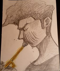 pencil drawing of a trumpet player by Elizabeth Daugherty