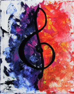 acrylic painting of a treble clef by Hannah Anand Midha
