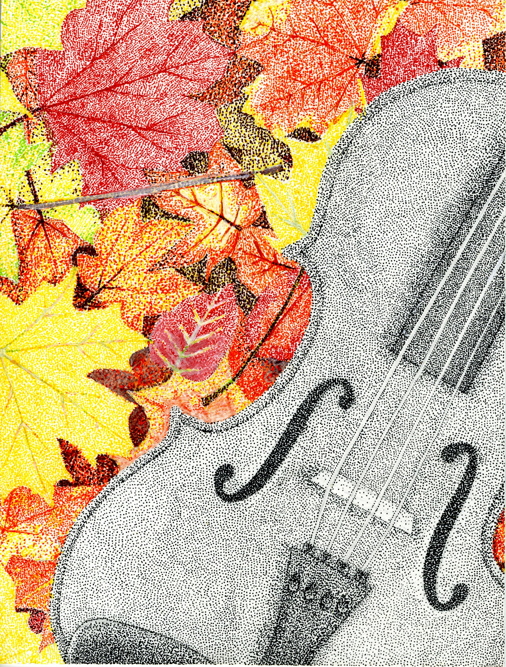 pen drawing of a violin in autumn leaves by Dominique Avendano