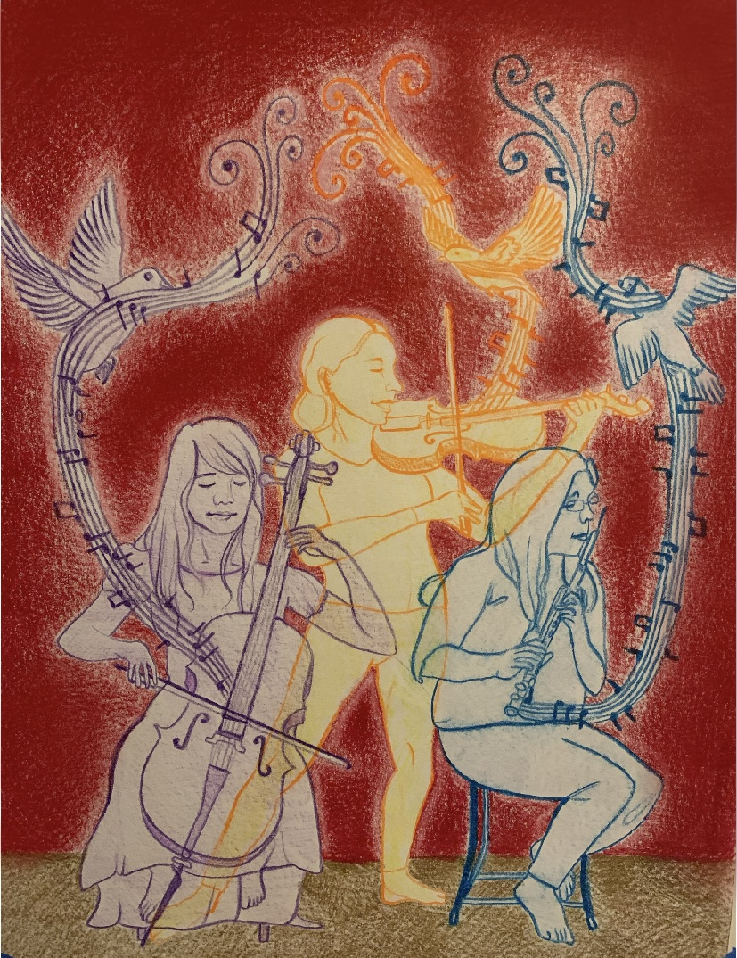 Drawing of trio by Prisha Rathi