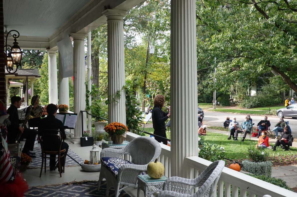 TYP Wind Quintet performs on porch